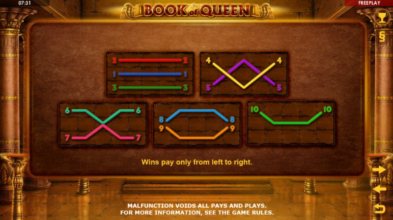 Book of Queen :: Paylines 1-10