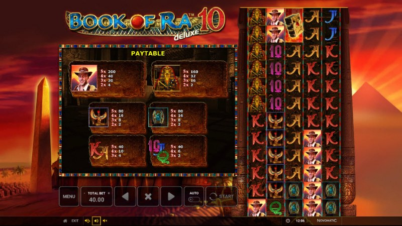 Book of Ra Deluxe 10 :: Paytable