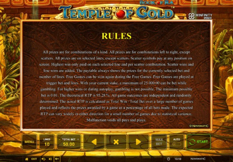 Book of Ra Temple of Gold :: General Game Rules
