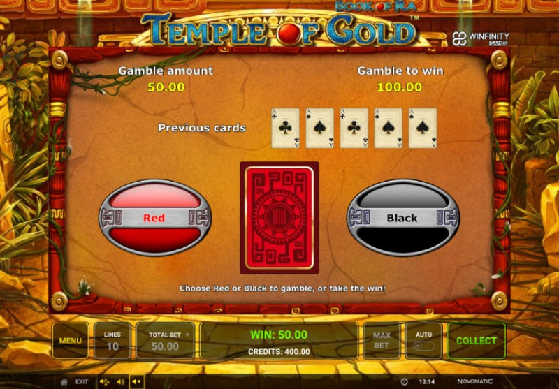 Book of Ra Temple of Gold :: Black or Red Gamble Feature