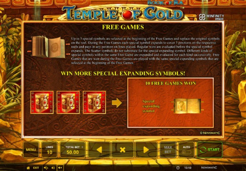 Book of Ra Temple of Gold :: Free Spins Rules