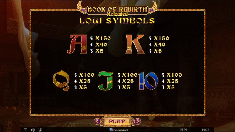 Book of Rebirth Reloaded :: Paytable - Low Value Symbols