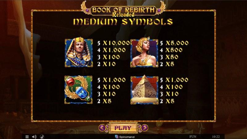 Book of Rebirth Reloaded :: Paytable - Medium Value Symbols