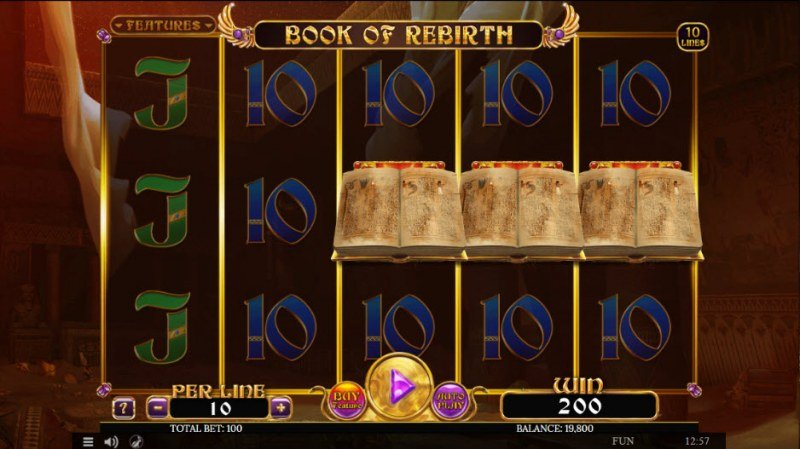 Book of Rebirth :: Scatter symbols triggers the free spins feature