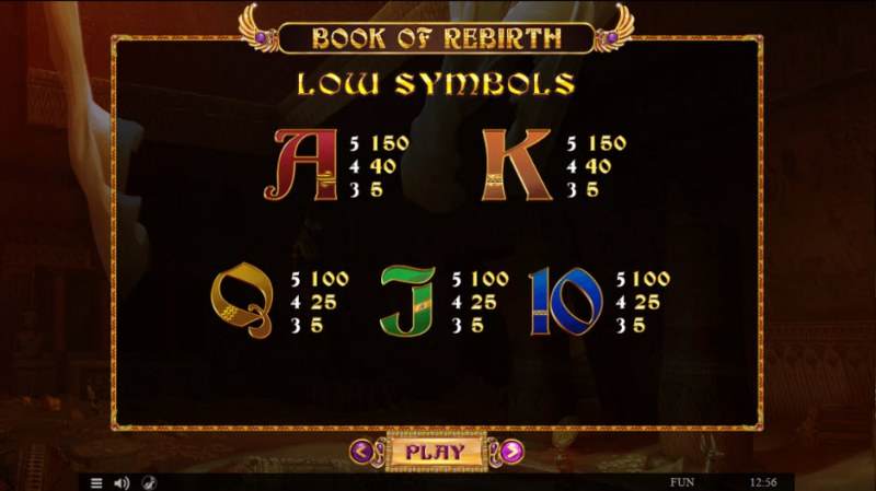 Book of Rebirth :: Paytable - Low Value Symbols