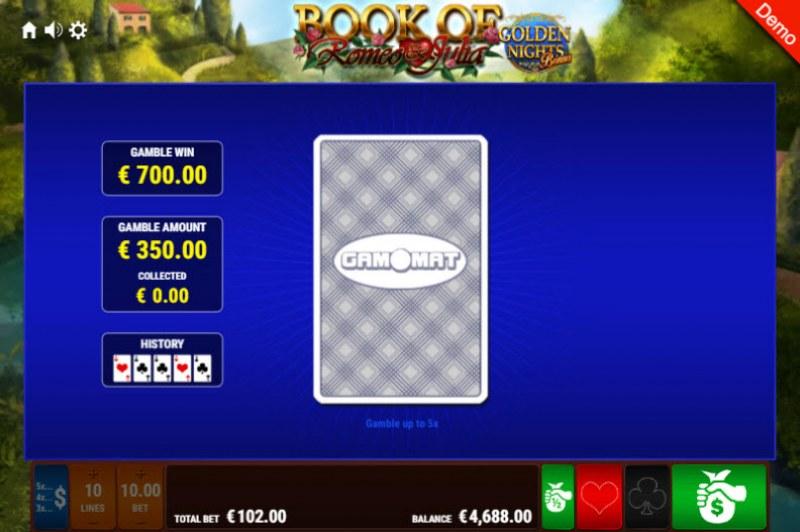 Book of Romeo & Julia Golden Nights Bonus :: Red or Black Gamble Feature