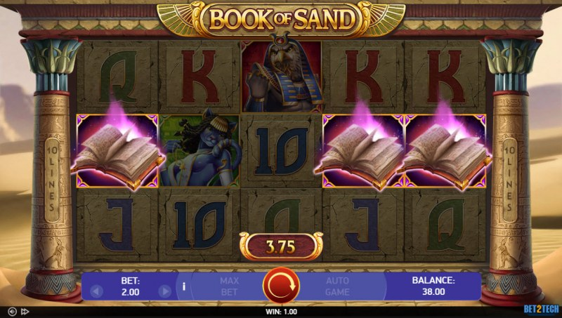 Book of Sand :: Scatter symbols triggers the free spins bonus feature