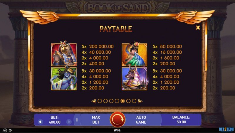Book of Sand :: Paytable - High Value Symbols