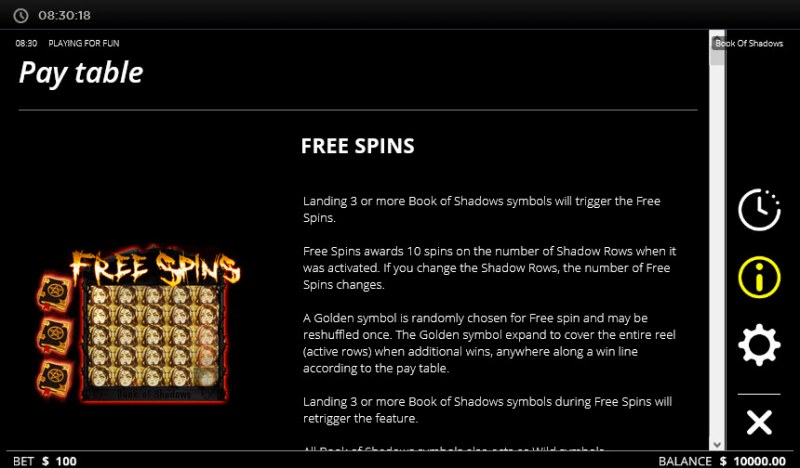 Book of Shadows :: Free Spins Rules