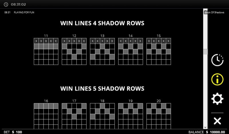 Book of Shadows :: Win Lines