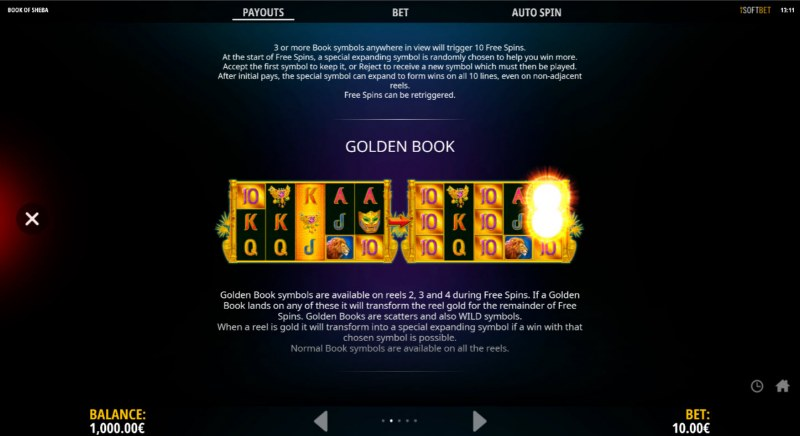 Book of Sheba The Golden Book :: Feature Rules