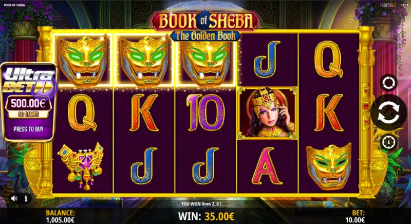 Book of Sheba The Golden Book :: A three of a kind win