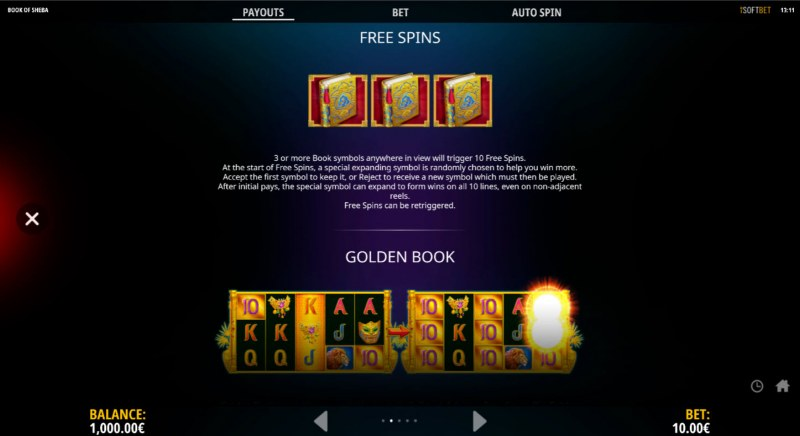 Book of Sheba The Golden Book :: Free Spin Feature Rules
