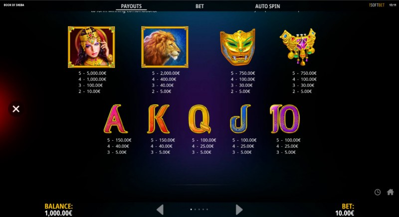 Book of Sheba The Golden Book :: Paytable