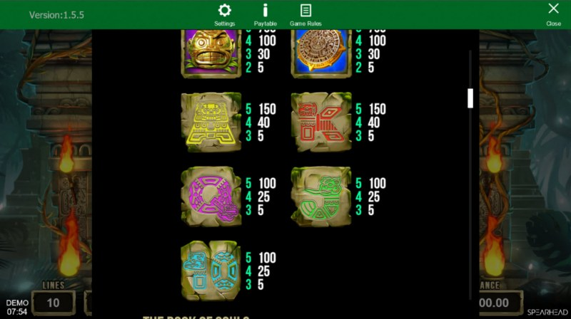 Book of Souls :: Paytable - Low Value Symbols