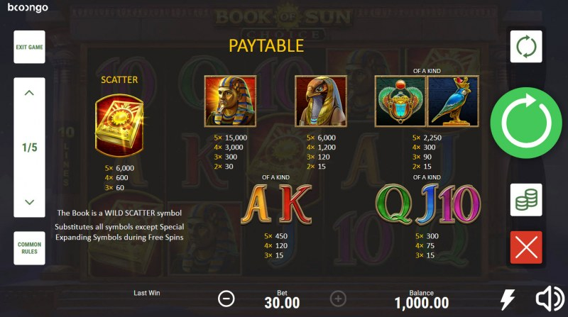 Book of Sun Choice :: Paytable