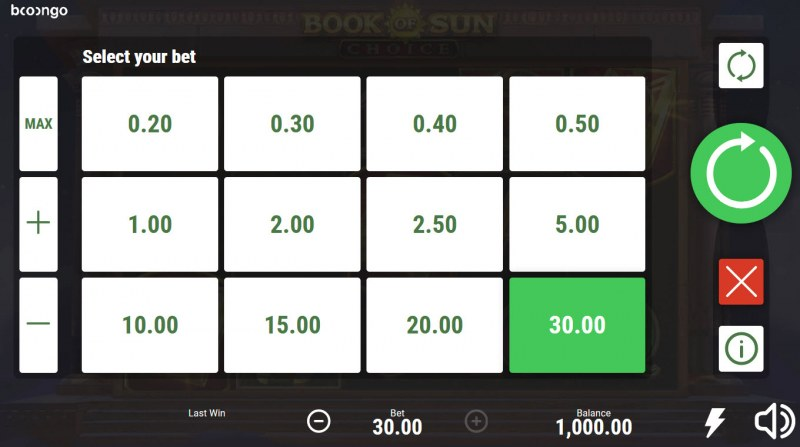 Book of Sun Choice :: Select your bet