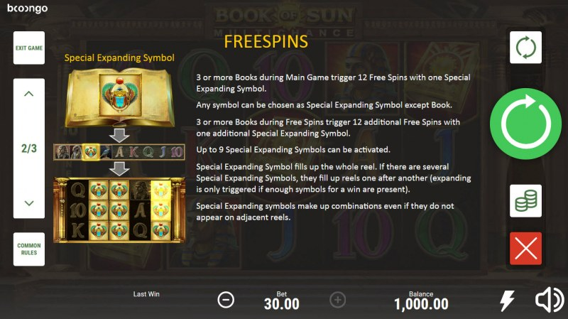 Book of Sun Multi Chance :: Free Spin Feature Rules