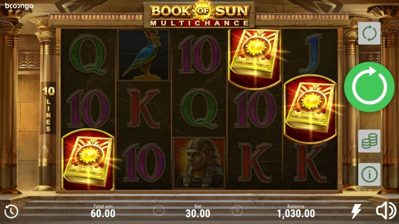 Book of Sun Multi Chance :: Scatter symbols triggers the free spins bonus feature