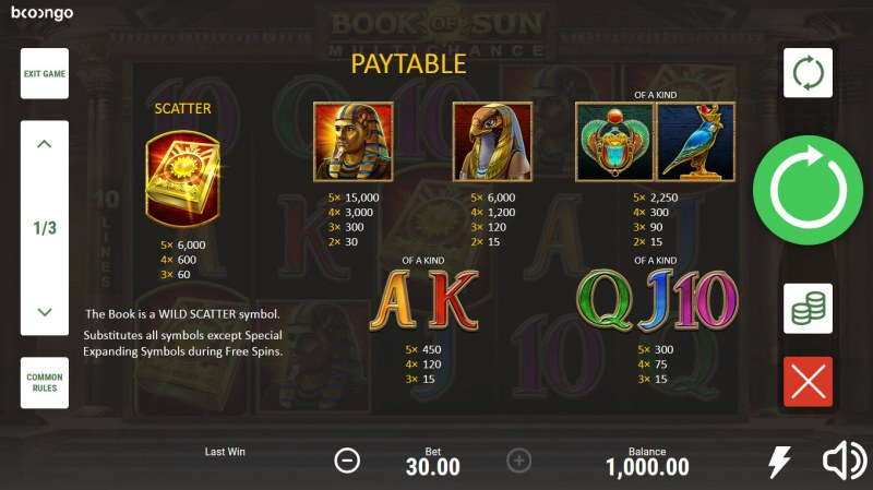 Book of Sun Multi Chance :: Paytable