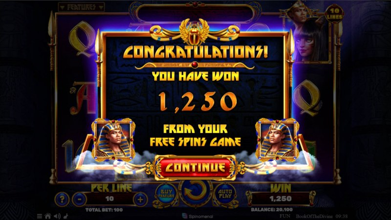 Book of the Divine :: Total Free Spins Payout