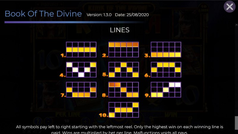 Book of the Divine :: Paylines 1-10