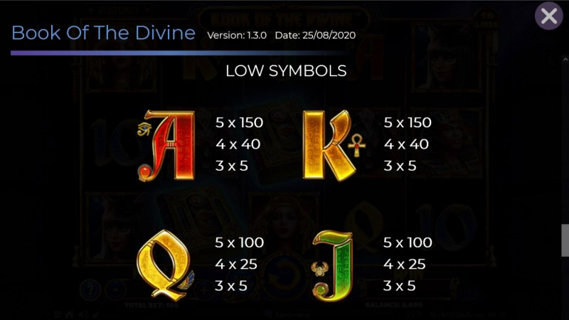 Book of the Divine :: Paytable - Low Value Symbols