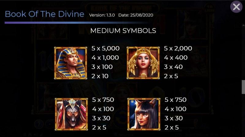 Book of the Divine :: Paytable - Medium Value Symbols