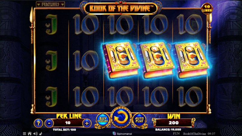 Book of the Divine :: Scatter symbols triggers the free spins bonus feature