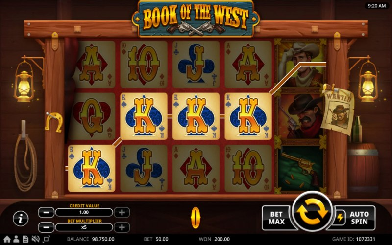 Book of the West :: A four of a kind win