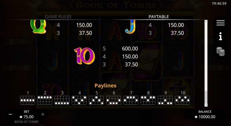 Book of Tombs :: Paylines 1-10