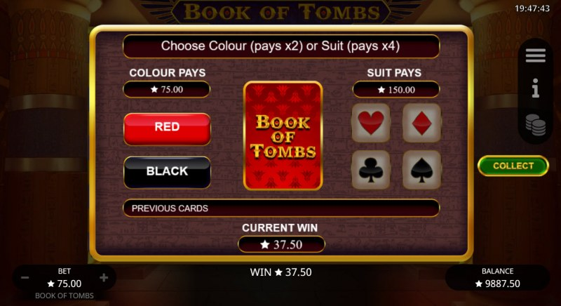Book of Tombs :: Gamble feature