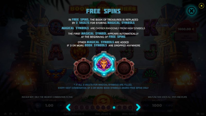 Book of Treasures :: Free Spins Rules