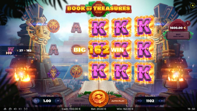 Book of Treasures :: Stacked symbols leads to multiple winning paylines