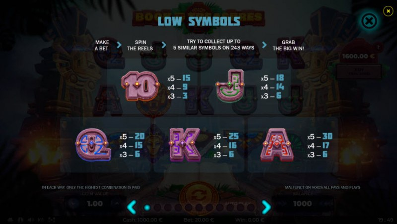 Book of Treasures :: Paytable - Low Value Symbols