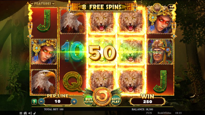 Book of Tribes :: special expanding symbol leads to a big win during the free spins feature