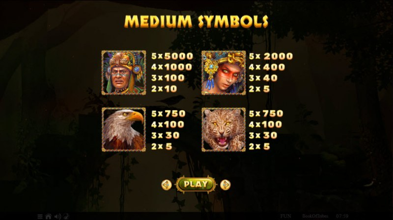 Book of Tribes :: Paytable - High Value Symbols