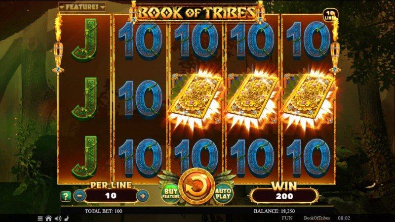 Book of Tribes :: Scatter symbols triggers the free spins feature