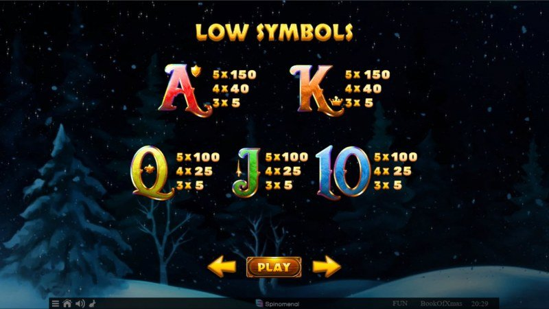 Book of Xmas :: Paytable - Low Value Symbols