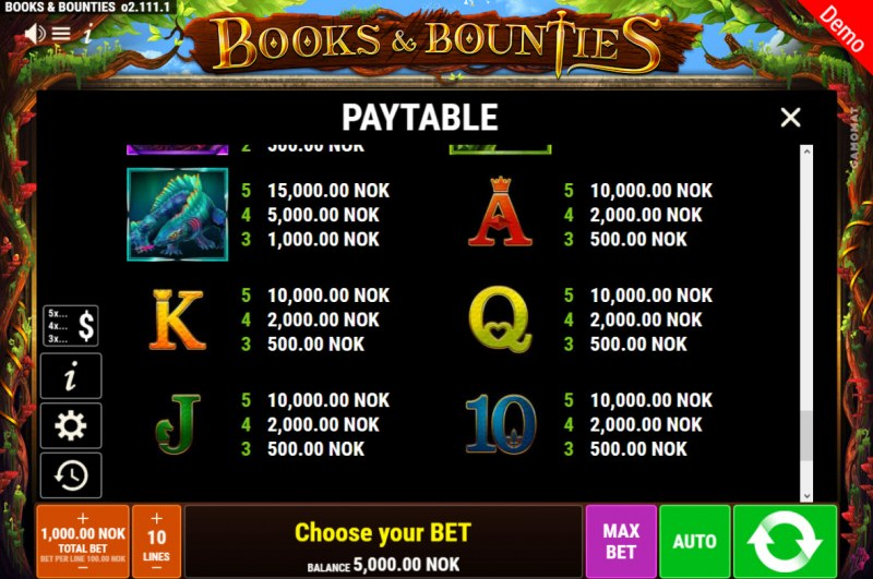 Books & Bounties :: Paytable - Low Value Symbols