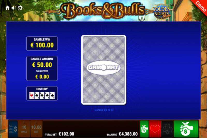 Books & Bulls Golden Nights Bonus :: Red or Black Gamble Feature
