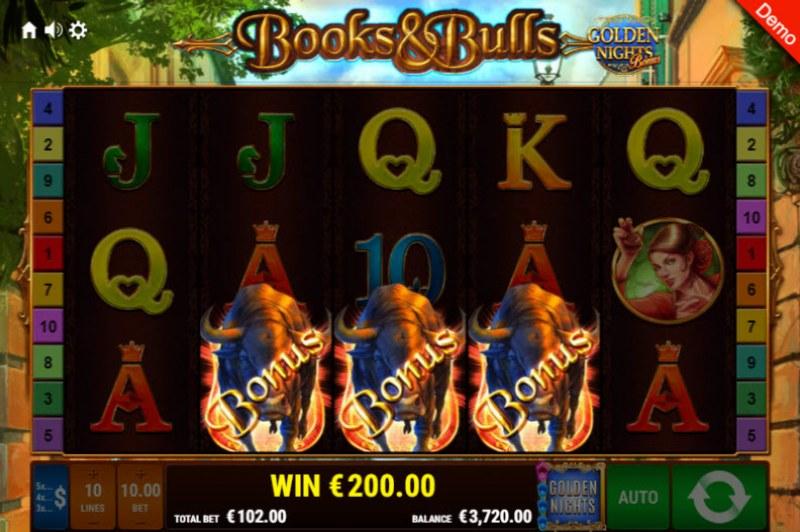 Books & Bulls Golden Nights Bonus :: Scatter symbols triggers the free spins feature