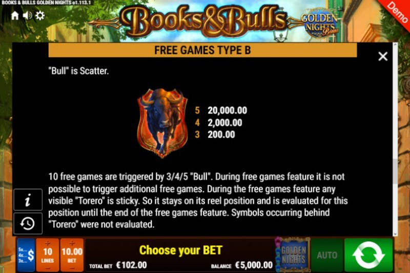 Books & Bulls Golden Nights Bonus :: Scatter Symbol Rules