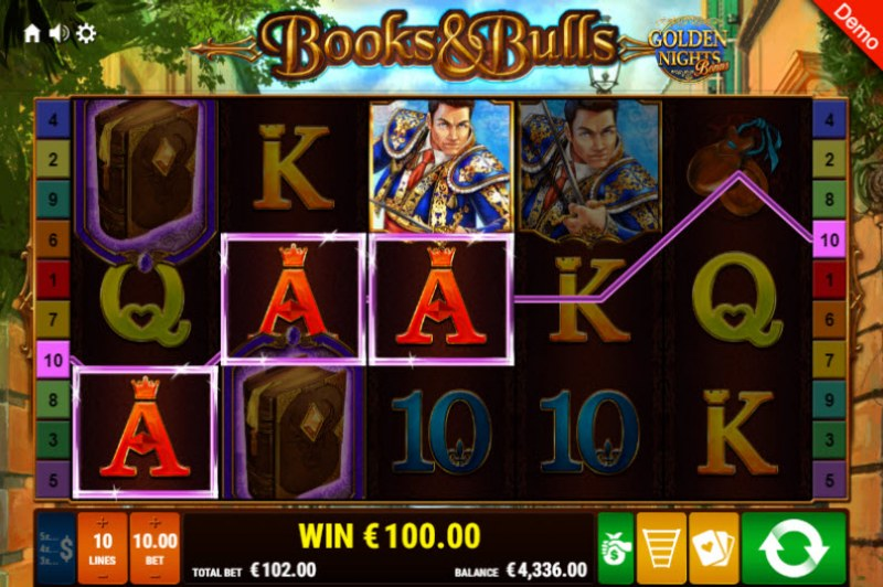 Books & Bulls Golden Nights Bonus :: Three of a kind win