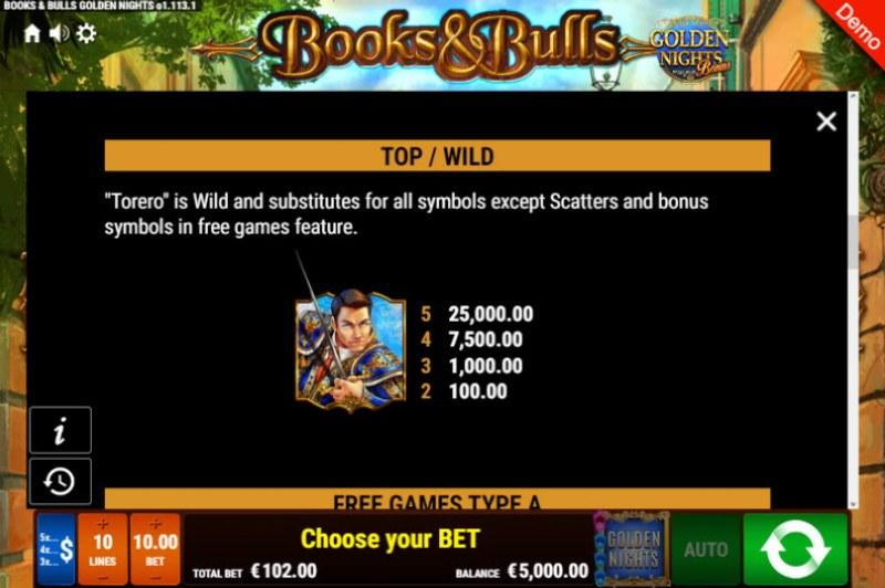 Books & Bulls Golden Nights Bonus :: Wild Symbols Rules