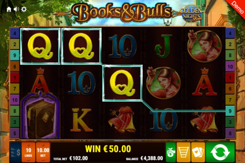 Books & Bulls Golden Nights Bonus :: 3 of a kind win
