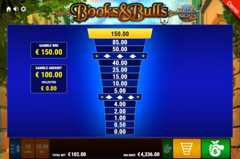 Books & Bulls Golden Nights Bonus :: Ladder Gamble Feature
