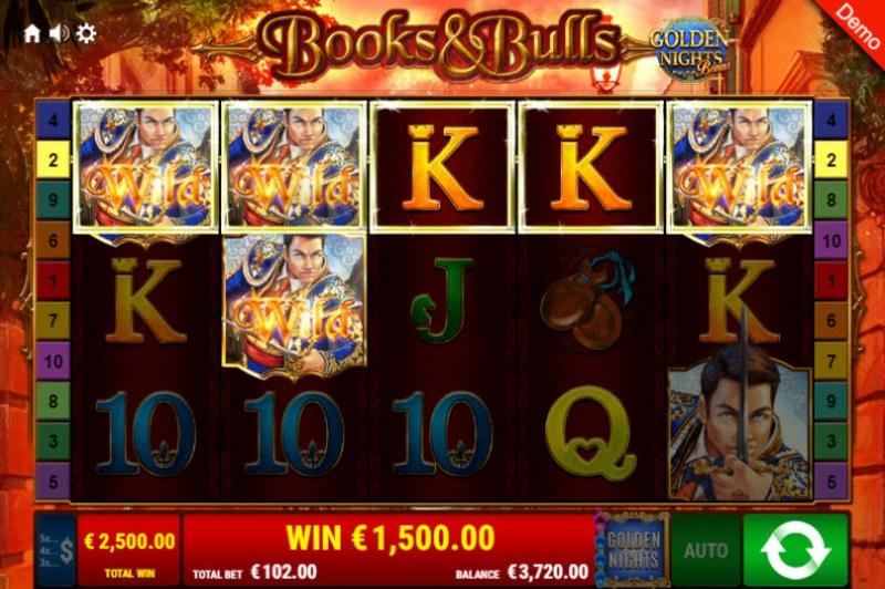 Books & Bulls Golden Nights Bonus :: A five of a kind win
