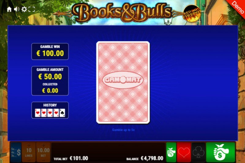 Books & Bulls Red Hot Firepot :: Red or Black Gamble Feature