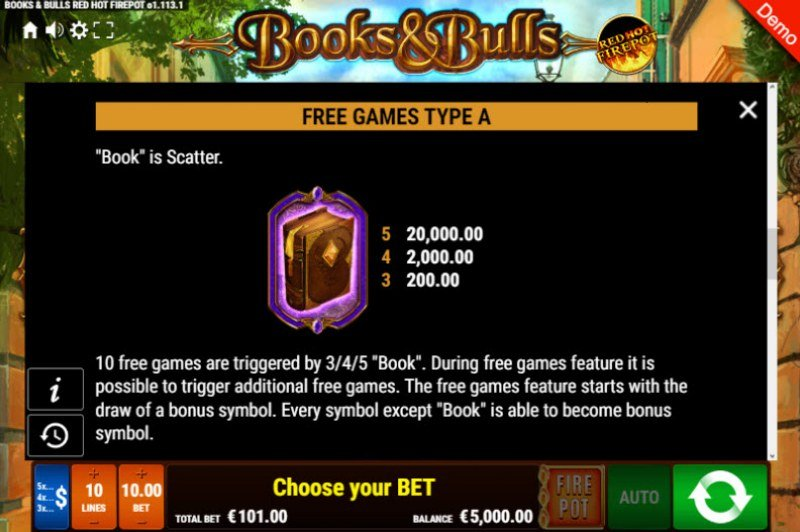 Books & Bulls Red Hot Firepot :: Free Spins Rules
